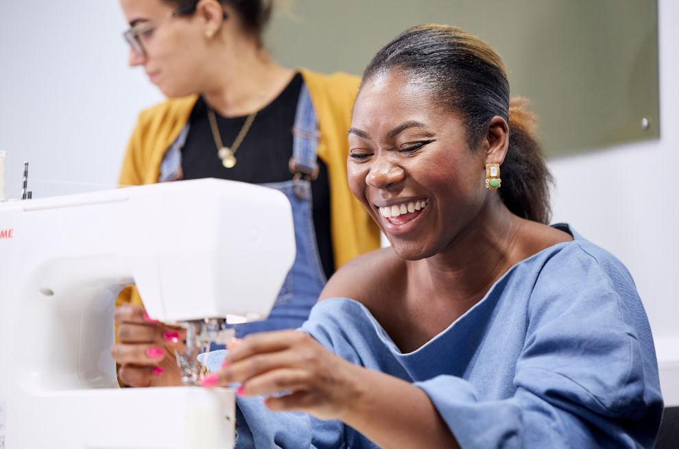 Joyce demonstrating sewing machine technique