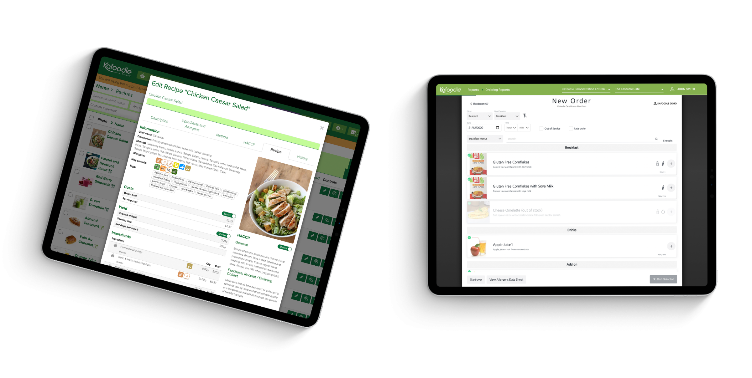 Kafoodle application on two tablet devices, showing recipe information and a personalised meal order.