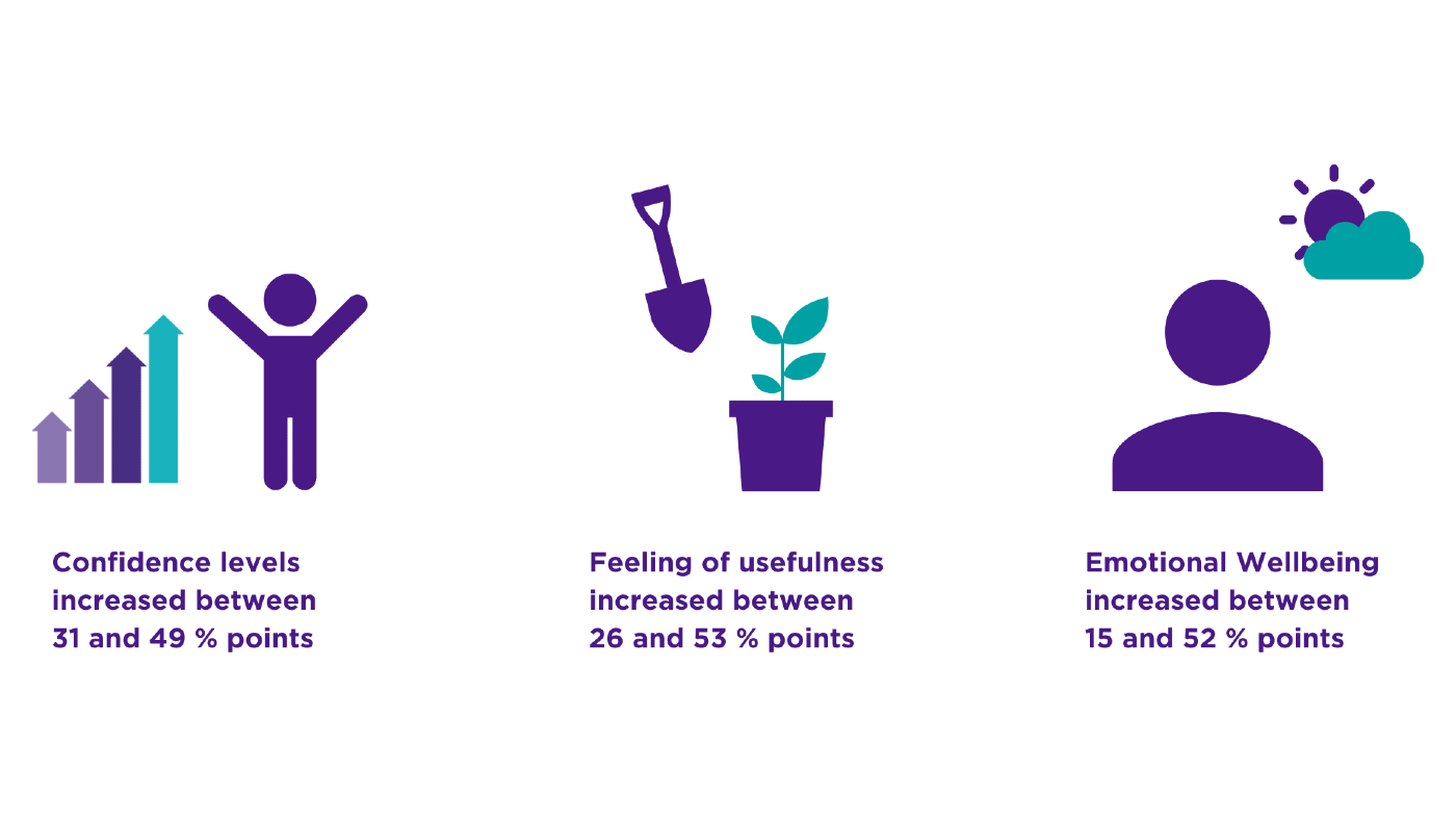 Icon of upwards arrows and person reaching to represent increased confidence. Spade and plant pot icons to represent increases in feeling of usefulness. Icon of person and sun emerging from cloud to suggest increased emotional wellbeing.